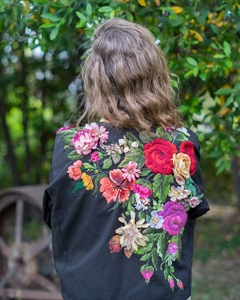 Embroidered appliqué blazer.